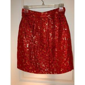 Anthropologie Lauren Moffat Red & Gold Skirt